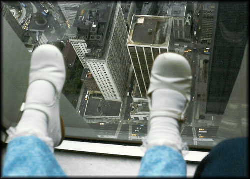 Looking down from the WTC observation window