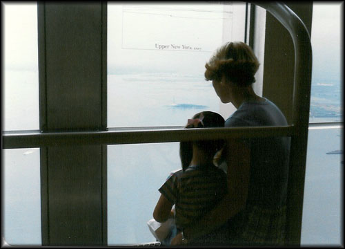 Looking out WTC observation window